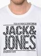 Jack & Jones Bisiklet Yaka Baskılı Tişört Beyaz